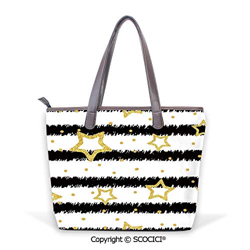 SCOCICI Purses and Handbags Golden Stars and Dots with Effect on Striped Patter