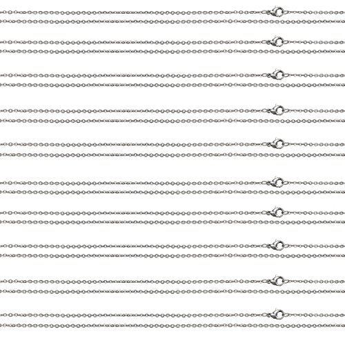 """Stainless Steel Cable Chain Necklace Womens Mens Bundle Smooth Lobster Clasp Pouch Included (10PC 20"""" Long Chains 2mm Wide 2.9g)"""