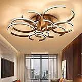 WGFGXQ Luces de Techo LED para Sala de Estar, Comedor, Dormitorio, luminaria, lámpara de Techo Creativa, plafonnier, led, 3 Anillos, marrón, Regulable