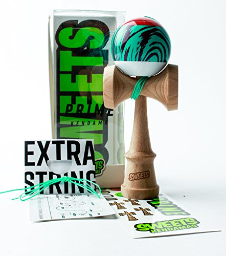 Sweets Kendamas Grain Split 2.0 Prime Kendama, Premium Skill Toy, Extra String Accessory Gift Bundle (Laser Tag)