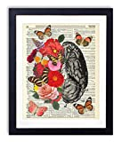 Brain With Flowers and Butterflies Upcycled Vintage Dictionary Art Print 8x10
