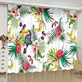 ZLXSAM Window Curtains Tropical Selva Tropical Planta Tucán L55 X63 W/140X160Cm...