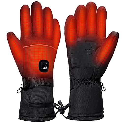 Homealexa Beheizbare Handschuhe mit 3-Stufen Temperaturregelung und Touchscreen, 4000mAh Beheizte Motorrad Handschuhe Herren Damen Warme Winterhandschuhe Wasserdicht für Ski, Motorrad Angeln Jagen (L)