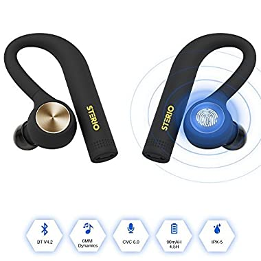 STERIO True Wireless Bluetooth Headphones V4.2 Wireless Bluetooth Headsets IPX5 Sweatproof Stereo Bluetooth Earbuds with Mic for iOS and Android Devices (NOT Include SAMSUNG Phones with Android 8.0)