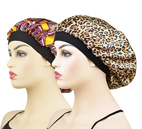 2 Pieces Satin Bonnet Sleep Caps for Women Curly Hair, Wide Band Elastic Satin Sleeping Bonnet Night Cap for Girls Natural Hair