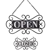 NIKKY HOME Rustic Reversible Open Closed Sign for Business Door with Chain 13 x 14 Inch