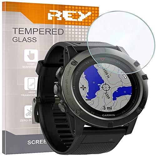 REY 3X Protector de Pantalla para Garmin Fenix 5X 51mm - Fenix 5X Plus 51mm, Cristal Vidrio Templado Premium