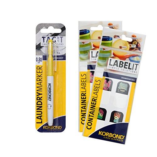 24 Stick On Container Etiketten & Kleding Marker Pen Set– Ideaal voor Markering en Naam Terug naar School; Lunch Dozen, Waterflessen, Snack Pots, Allergie Markers, Etikettering, Kwekerij, Zorg Homes