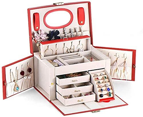 WHXL Portagioie Portagioie da donna Portagioie in pelle di grande capacità Portagioie Orecchini Collana con scatola portagioie per orologio a specchio