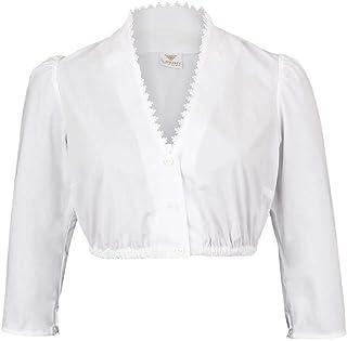 h.moser Salzburg Damen Dirndl-Bluse mit 3/4 Arm und V- Ausschnitt, 010 Weiss,