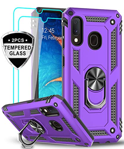 Samsung Galaxy A20/ A30 Case with Tempered Glass Screen Protector, LeYi [Military Grade] Magnetic Car Ring Holder Mount Kickstand Defender Protective Cover Phone Case for Samsung A20/ A30, JSFS Purple