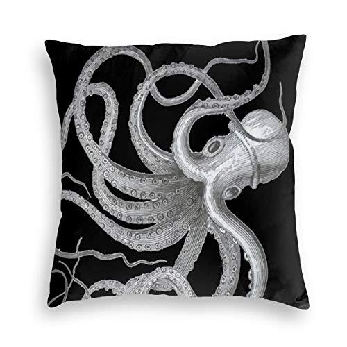 Feamo Nautical Steampunk Octopus Vintage Kraken Decor Velvet Soft Decorative Square Throw Pillow Covers Cushion Case Pillowcases for Sofa Chair Bedroom Car 18X18inch