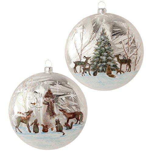 Amazon Com Raz Imports Christmas Ornament Woodland Animal Disc 2 Assorted Kitchen Dining