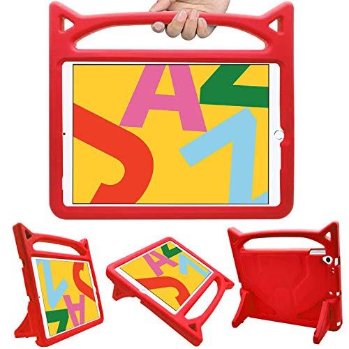 HBorna iPad 10.2 Case Kids, iPad 7th Generation Case Kid, Shockproof Light Weight Handle Friendly Stand Kids Case for New iPad 10.2' 2019, iPad Air 3, iPad Pro 10.5 (Red)
