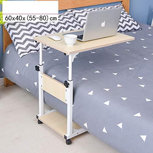 FEI Table de lit réglable en hauteur multifonctions pour bureau d'ordinateur portable, table de canapé, table de canapé, chariot pour ordinateur portable (Couleur : White maple)