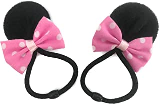 MeeTHan Pink Polka Dot Minnie Mouse Clips Ears Baby Elastic Hair Clips Costume Accessory :M12 (Minnie Band 4 cm)