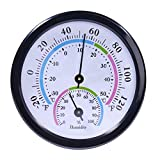 Mini Indoor Thermometer Hygrometer, CHIVENIDO 2 in 1 Temperature and Humidity Monitor Gauge for Table, Kitchen, Office, Outdoor (No Battery Needed)-Black