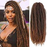 Ameli 6 Packs Marley Braiding Hair for Twists Synthetic Fiber Hair Afro Kinky Hair Marley Braid Hair Extensions (18inch, T30)