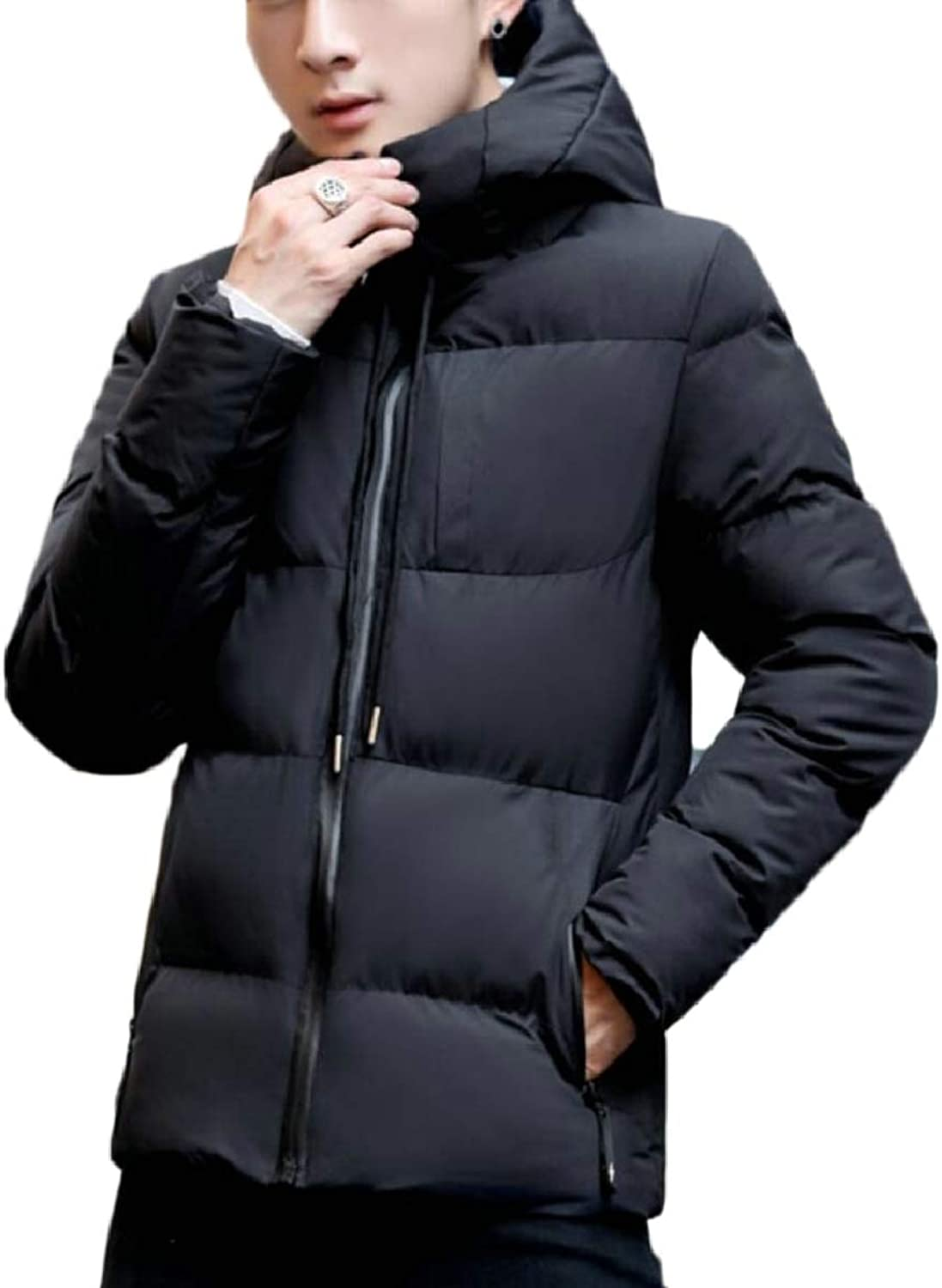 omniscient Men Thick Warm Lined Fleece Hooded Sweatshirt Coat Jacket