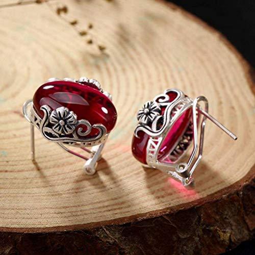 WOZUIMEI Chinese Style Earrings Eardrop S990 Sterling Silver Vintage Plum Blossom Auspicious Cloud Earrings Inlaid Female Matching All Earrings Garnet