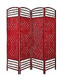 Home Line Biombo Separador de Madera Bambú y Papel Trenzado, Rojo, Plegable, Decorativo, Vestidor. - B