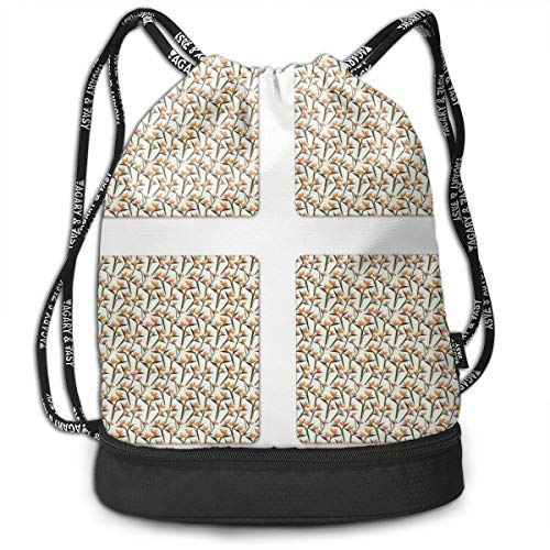 NoBrand Drawstring Backpack String Bag Casual, D3800 Contemporary Style Birds Of Paradise Flowers Tropical Garden Blossoms Bedding Plants