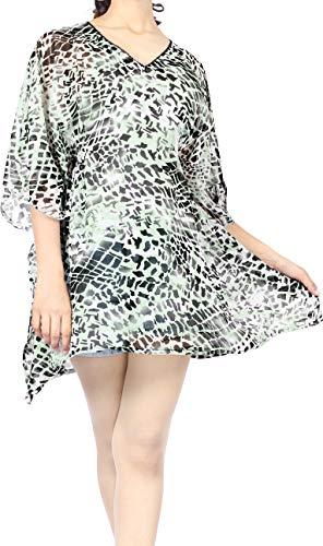 LA LEELA Damska sukienka plażowa, rozmiar jednostkowy, sukienka plażowa, sukienka koszuli, dekolt w serek, OneSize 52