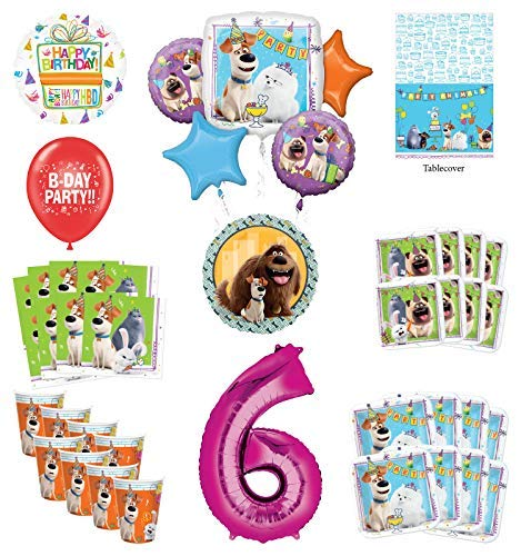 Best Prices! Secret Life of Pets 6th Birthday Party Supplies 8 Guest kit and Balloon Bouquet Decorat...
