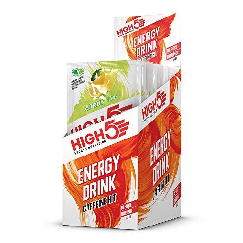 HIGH5 Energy Drink Caffeine Hit, veganes, erfrischendes, isotonisches Sportgetränk mit Koffeinschub aus Kohlenhydraten und Elektrolyten – Zitrus – Multipack 12x47g
