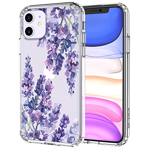 MOSNOVO Lavender Floral Flower Pattern Designed for iPhone 11 Case - Clear