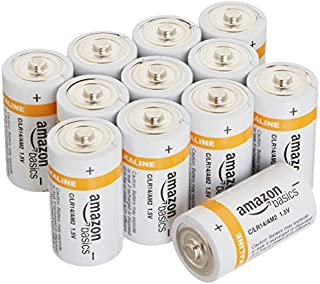 AmazonBasics C Cell Everyday 1.5 Volt Alkaline Batteries - Pack of 12