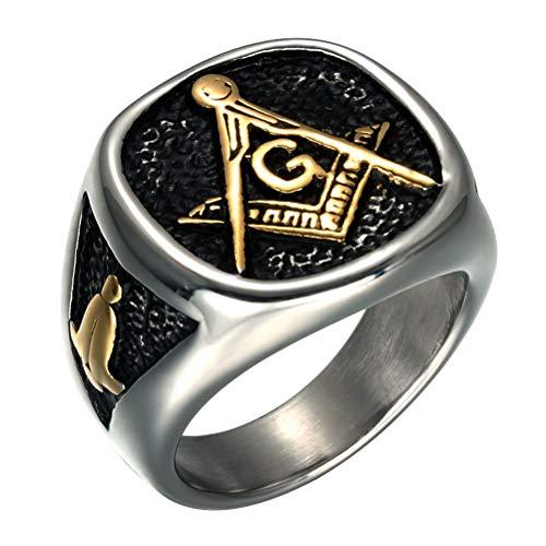 Feinny 2020 Hombres de Moda Masónico 20g Big Ring, Acero Inoxidable Pulido Hecho A Mano IP Chapado Joyería Masónica Libre, Maestro Mason Banda de Ciclistas Punk Freemason Symbol Ring,Between Golden,7
