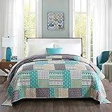 WOLTU® BD11m01, Tagesdecke Bettüberwurf Steppdecke Patchwork Wendedesign Bettdecke Stepp Decke Doppelbett unterfüttert & gesteppt, 150x200 cm