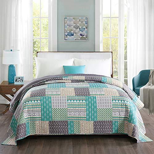 WOLTU® BD11m01, Tagesdecke Bettüberwurf Steppdecke Patchwork Wendedesign Bettdecke Stepp Decke Doppelbett unterfüttert und gesteppt, 150x200 cm