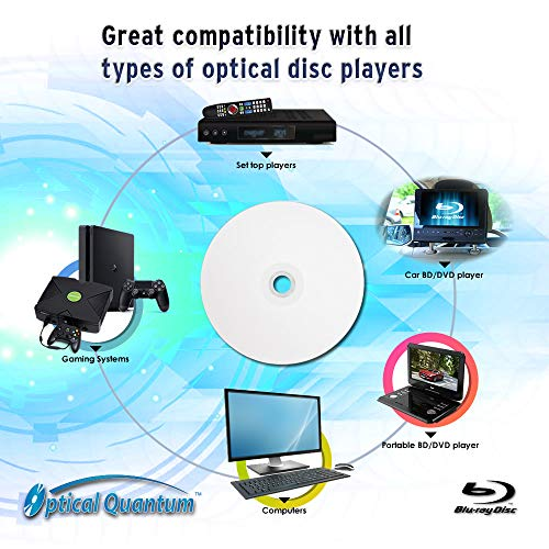 Optical Quantum 6X 50GB BD-R DL White Inkjet Printable Blu-ray Double Layer Recordable Media, 50-Disc Spindle Mississippi