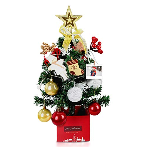 DLY 20.5'/52cm Tabletop Xmas Tree, Artificial Mini Christmas Pine Tree with LED String Lights & Ornaments