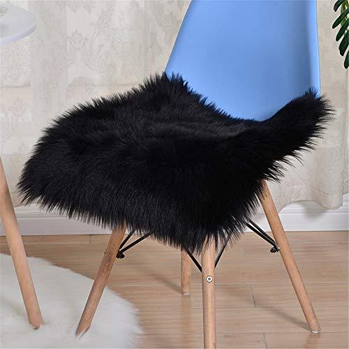 Nicole Knupfer Sitzkissen Plüsch Kunstfell Plüsch Sitzauflage Lammfell Stuhlkissen Schaffell Stuhlauflage Plüschmatte (Schwarz,50 * 50cm)