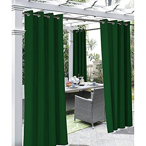 Cortinas impermeables al aire libre para ventanas de sala de estar, balcón, patio, porche, puerta, pérgola, cabana, gazebo con ojales en la parte superior de un panel (verde oscuro 132 x 304 cm)