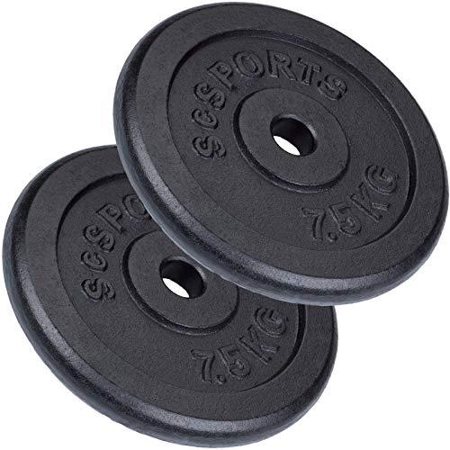 ScSPORTS 15 kg Hantelscheiben-Set 2 x 7,5 kg Gusseisen Gewichte mit 30/31 mm Bohrung, durch Intertek geprüft + bestanden¹
