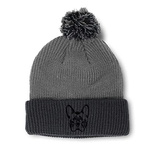 Pom Pom Beanies for Women French Bulldog Silhouette Embroidery Dogs Winter Hats for Men Acrylic Skull Cap 1 Size Grey Black Design Only