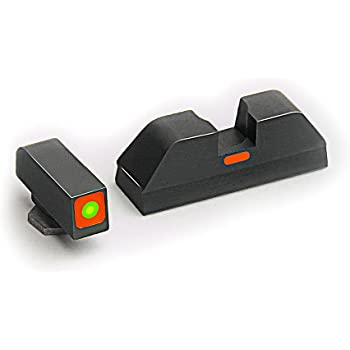 AmeriGlo Combative Application Pistol Sight fits Glock 17,19,22,23,24,26,27,33,34,35,37,38,39, Green/Orange