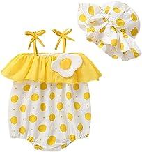 FELZ Body Infantil para bebés, Mameluco sin Mangas con Estampado de Lunares con Volantes Camisole Traje de Sol y Sombrero Conjunto Dos Piezas Lindo FáCil De Poner Y Quitar Regalo Vestido De Fiesta