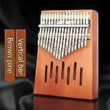 SFFSM 17 Teclas Dedo Pulgar Kalimba de Piano de Piano for Principiantes Instrumento Musical del corazón del melocotón de Pino Macizo Africano con Libro de Estudio Martillo de sintonía