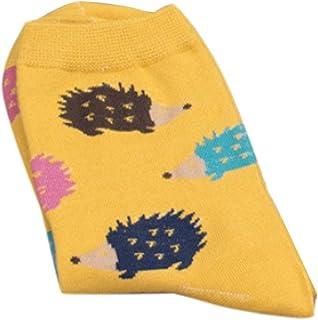 Junlinto Mujeres Niñas Calcetines Largos de Algodón de Invierno Calcetines de Dibujos Animados Patrón de Erizo Encantador Ocasional Amarillo