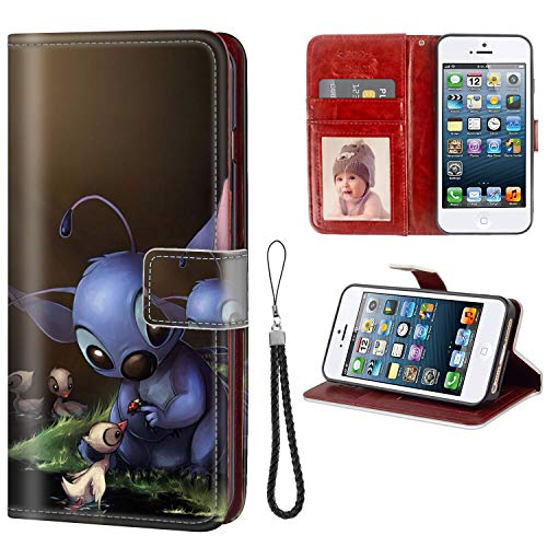 DISNEY COLLECTION iPhone 5C Wallet Phone Case Leather Cash Card Case Stitch Cute Wallpaper Shock Absorbent
