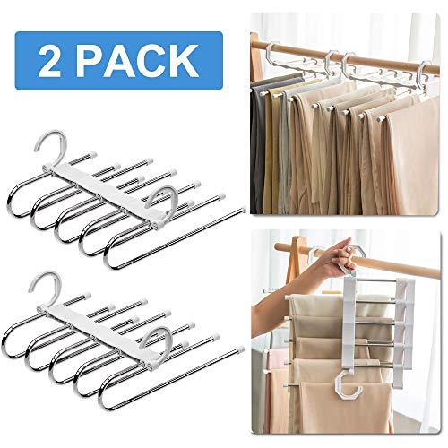 Fulfun - Perchas para pantalones de ahorro de espacio, 2 ganchos mágicos para percha de ropa, varios estantes para pantalones vaqueros, pantalones, camisetas, polos, etc.