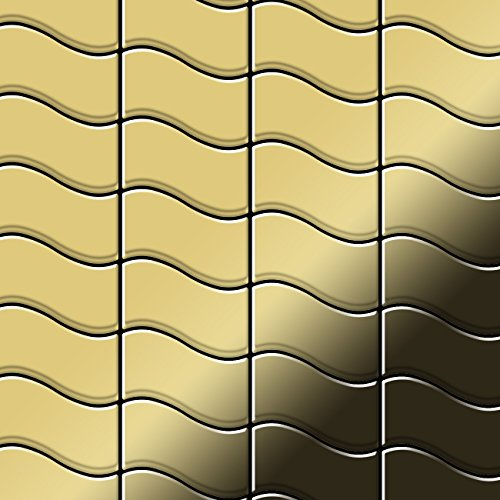 Mosaic tile massiv metal Brass mill gold 1,6mm thick ALLOY Flux-BM designed by Karim Rashid