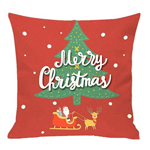 KapianLeinen Kissenbezug Weihnachten Sofa Home Decor Kissenbezüge 45cm*45cm Baumwolle Weihnachten Deko Sofa Bett Auto Festival Kissenhülle