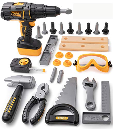 Geyiie Kids Tool Set 27Pcs Kids Tool Box with Electric Toy Drill Construction Toy Tool Kit for Kids Pretend Play Toy Tool Set for 3+ Years Old Toddler Boys Girls