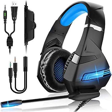 Auriculares Gaming PS4,Cascos Gaming de Mac Estéreo con Micrófono Cascos Gaming 3.5mm Jack con Luz LED Bass Surround y Cancelación de Ruido Auriculares Compatible con PC/Xbox One/Switch